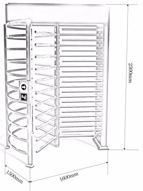 kích thước chi tiết cổng xoay full height PT-Q01BD
