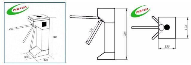 kích thước cổng xoay của hệ thống quản lý phòng gym